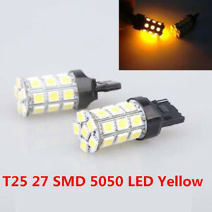 2x Amber Yellow 3157a 3457a 4157na 3157 27 Smd Car Parking Bulb Lamp Led Light