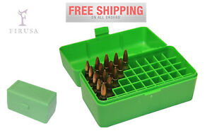 Plastic Case For 50 Rounds Flip-Top Rifle Ammo Box 220 Swift 243 308 Win 6mm Rem