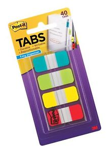 Post it Tabs 625 In Solid Aqua Lime Yellow Red Durable Writable Repos