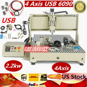 Usb 4 Axis 6090 2200w Cnc Router Engraver Engraving Milling Carving Machine Vfd