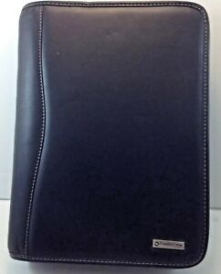 Franklin Covey Leather Zip 7 Rings Planner Binder Organizer 11x8 Black Non Used