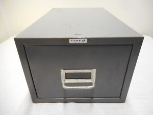 Vintage Cole Gray Steel Metal 1 Drawer Filing Cabinet Paper Card Storage Box