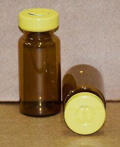 10 Ml Amber Sterile Vial With Yellow Center Tear Seal Qty 100