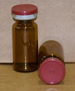 10 Ml Amber Sterile Vial With Brick Red Plain Flip Cap Seal Qty 25
