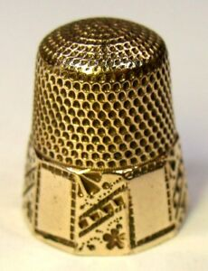 Antique Stern Bros Co Ten Panel Gold Thimble Abstract Flower Design C 1890s