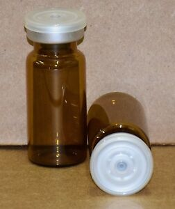 10 Ml Amber Sterile Vial With Clear Plain Flip Cap Seal Qty 25