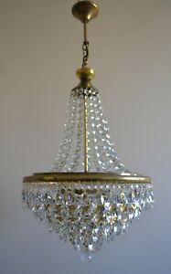 French Basket Style Vintage Brass Crystals Chandelier Antique Lamp Pendant Gold