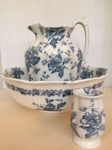 Victorian Staffordshire Blue White Transfer 3 Pc Wash Basin Pitcher Cup Antique