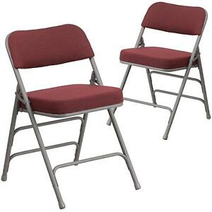 Folding Chair 2pk Fabric Metal Triple Braces Indoor Outdoor Portable Padded Seat