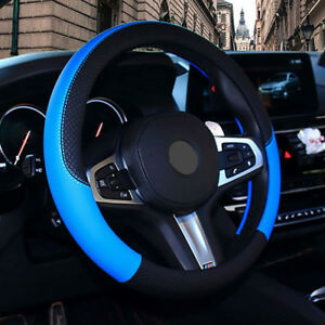 Car Pu Leather Steering Wheel Cover Anti Slip Protector Fit 38cm 15inch Blue 17