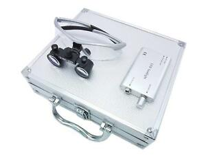Dental Binocular Loupes 2 5x Magnifier Silver Led Headlight Aluminum Box