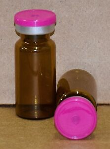 10 Ml Amber Sterile Vial With Fuchsia Pink Plain Flip Cap Seal Qty 25