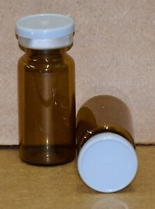 10 Ml Amber Sterile Vial With Light Gray Plain Flip Cap Seal Qty 50