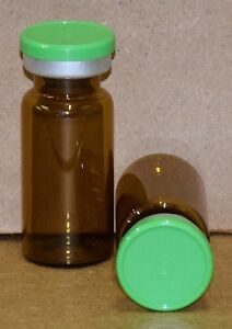 10 Ml Amber Sterile Vial With Meadow Green Plain Flip Cap Seal Qty 50