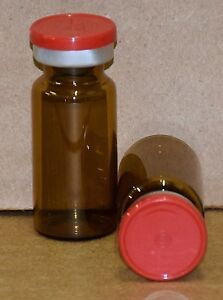 10 Ml Amber Sterile Vial With Red Plain Flip Cap Seal Qty 25