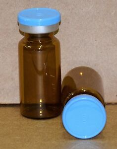 10 Ml Amber Sterile Vial With Sky Blue Plain Flip Cap Seal Qty 50
