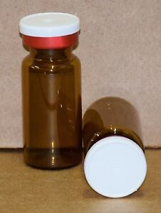 10 Ml Amber Sterile Vial With White On Red Plain Flip Cap Seal Qty 50
