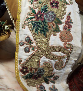 Antique French Applique Gold Metallic Silk Embroidery Cornucopia Flowers