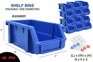 12 Pk Shelf Bins 6 X 4 X 3 Blue Stackable Stack Storage Bins Label
