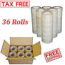 36 Rolls Clear Carton Sealing Tape Packing Package Box 2 Mil 2x110 Yards 330 Ft