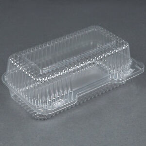 250 pack 9 X 5 X 3 Clear Hinged Lid Plastic Container