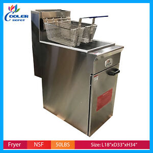 50 Lb Commercial Natural Gas Or Propane Stainless Steel Floor Deep Fryer Nsf