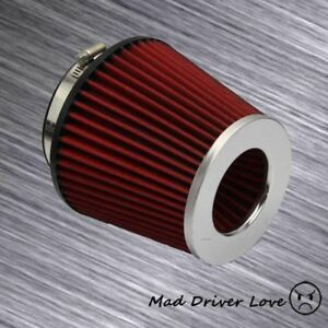 4 Inlet High Flow Short Ram Cold Dry Air Intake Filter Silver Plate Red Mesh