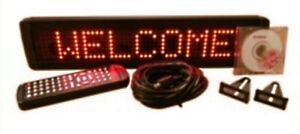 Single Line Indoor Red Led Programmable Display Sign Remote Control 17 x4 New