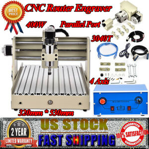 Cnc 3040 Router Engraver 4 Axis 3d Engraving Carving Machine Parallel Port 400w