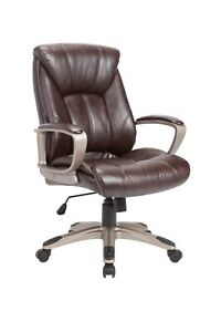 Leather Executive Swivel Office Chair With Height Adjustable Headrest Brown