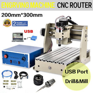 Usb 300w 3 Axis Motor Cnc 3020 Router Engraver Milling Drilling Cutter Machine
