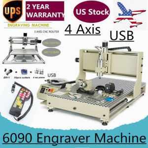 4 Axis Usb Cnc Router 6090 Engraver 2 2kw Vfd mini Cnc spindle Motor controller