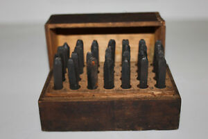 Vintage Sears Roebuck 3 16 Steel Letter Stamps And Original Wooden Box