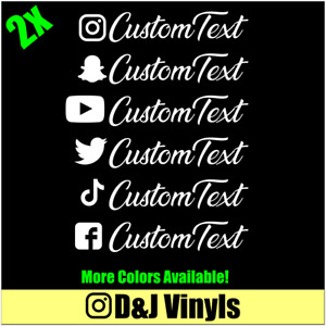 2x Instagram Custom Text V2 Vinyl Decal Window Euro Drift Jdm Sticker