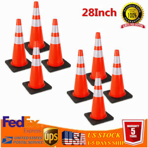 8 28 Durable Safety Cones Reflective Collars Fluorescent Orange Traffic Cones