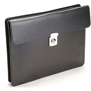 Royce Leather Rfid Zippered Underarm Business Portfolio With Laptop Pocket Black