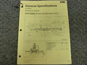 Link Belt Htc 825s Hydraulic Crane Specifications Lifting Capacities Manual