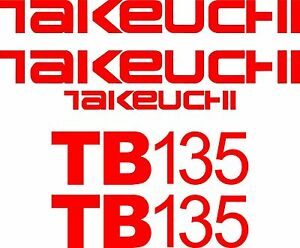 Takeuchi Decal Set For Tb135 decals Stickers Kit Loader Excavator