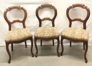 3 Antique French Victorian Balloon Back Finger Carved Chairs C 1890