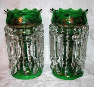 Pair Antique Bohemian Glass Mantle Lusters Circa 1890