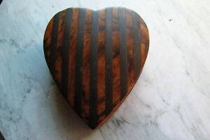 Nicely Made Heart Shaped Wooden Box With Brass Inlay Stripes On Top Hinged