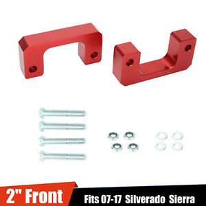 2 Front Leveling Lift Kit Fit 07 17 Chevy Silverado Gmc Sierra Gm1500 Lm Red