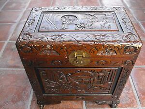 Antique Wood Carved Chinese Camphor Chest Box Approx 18x17x11