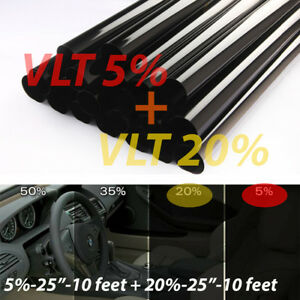 Uncut Window Tint Rolls Combo 5 20 Vlt 25 10ft Feet Home Office Auto Film