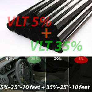 Uncut Window Tint Rolls Combo 5 35 Vlt 25 10ft Feet Home Office Auto Film