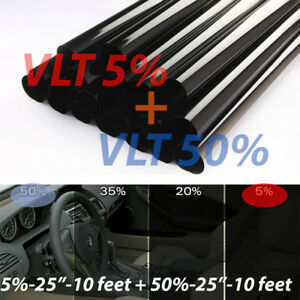 Uncut Window Tint Rolls Combo 5 50 Vlt 25 10ft Feet Home Office Auto Film