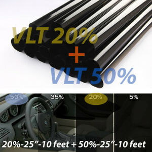 Uncut Window Tint Rolls Combo 20 50 Vlt 25 10ft Feet Home Office Auto Film