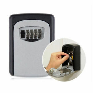 4 Digit Key Lock Box Wall Mounted Security Combination Storage Case Organizer