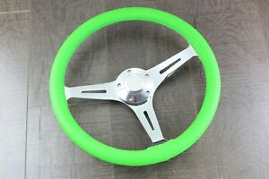 15 Jdm Neon Green Steering Wheel Polished Spokes