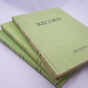 Vintage Federal Record Book Green Decor Library Notebook Hardcover Lot 3